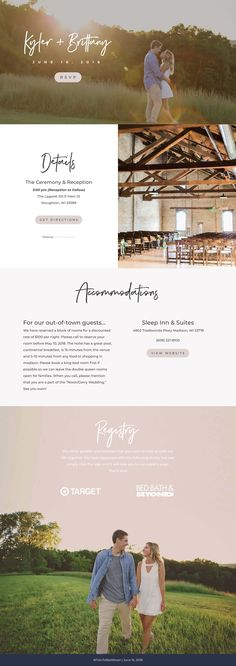 Single page wedding website created using Divi and Wordpress