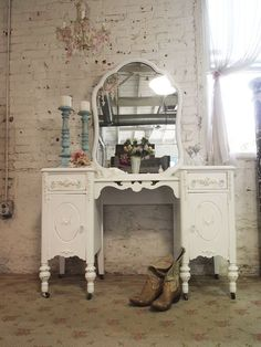Painted Cottage Chic Shabby White Romantic by paintedcottages, $425.00