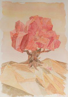 Acuarela low poly - El arbol. Low poly watercolor - The tree. HMZEN'14