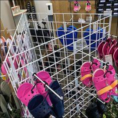 Crocs Fashion, Dsw Shoes, Crocs Sandals, Retail Merchandising, Store Fixtures, Geometric Shapes, Flip Flops, Triangle, Retail