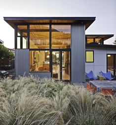 Cool use of corrugated metal and cement squares.