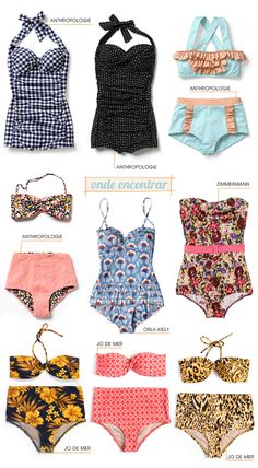 I want em alllllll!! :: Vintage Bathing Suits:: Retro Swimwear:: Pin up Girl Bathing suits:: Pin Up Style
