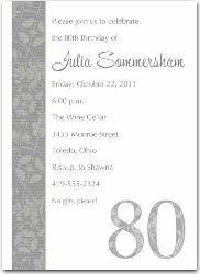 5054s  80th Birthday Party Invitations Silver Renaissance