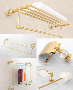 12133a8ea692 Luxury Gold Crystal Decoration Bathroom Hardware Hanger Set Towel Bar Rack  Paper Holder Shelf Brush Sanitary