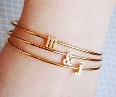 Tiny Gold Initial & Ampersand Bracelet