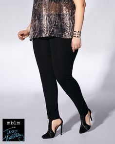 Rock your curves in this edgy plus-size legging from mblm by Tess Holliday! Metallic studded detail at sides make it on-trend, while a super soft, stretchy fabric and elastic waistband provides total comfort and a flawless fit. Team it with a printed tunic and heels!