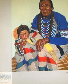Turtle and his Son, Striped Wolf. 1935 Book: The Blackfeet Indians of Glacier National Park.  Winold Reiss image.