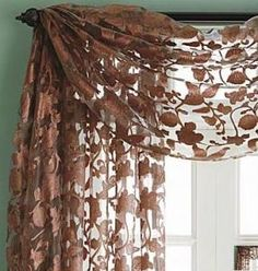 window scarf looks Curtains Over Blinds, White Curtains, Valance Curtains, Window Scarf, Hanging Curtain Rods, Valance Window Treatments, House Gifts, Cottage Style