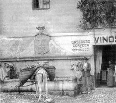 El pilar del Toro, que en la actualidad se encuentra en la plaza de Santa Ana, en su primitiva ubicación en la calle Elvira. Archivo de IDEAL