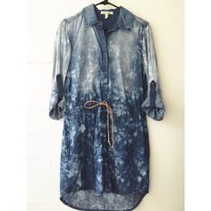 Acid Washed Denim Dress Adjustable sleeves, lightweight comfy denim material. Size small but fits up to a medium. Adjustable tie waist. Life in Progress Dresses