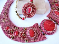 OOAK Red Jade And Gold Crystal Beaded Embroidered Necklace by JamieEstelleJewelry on Etsy https://www.etsy.com/listing/197387878/ooak-red-jade-and-gold-crystal-beaded