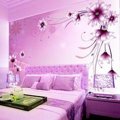 purple bedroom romantic living bed floral background pastoral zzkko walls desde guardado para tv