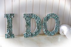 Items similar to Beach Wedding Seashell Decor Letters - I Do - Limpet Shells Spell I Do - Aqua on Etsy Beach Wedding Decorations, Light Decorations, Beach Wedding Inspiration, Wedding Ideas, Nautical Home, Monogram Letters, Sign Letters, White Letters, Here Comes The Bride