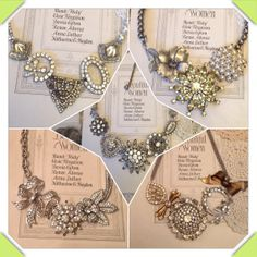 Bridesmaids Vintage Brooch Statement Necklaces by Ameliorez