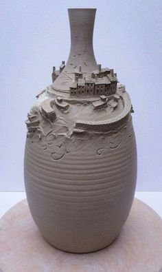 Earth Wool Fire — Fishing village on a bottle. Pottery Sculpture, Pottery Vase, Ceramic Pottery, Ceramic Pots, Ceramic Clay, Cerámica Ideas, Keramik Design, Pottery Houses, Advanced Ceramics
