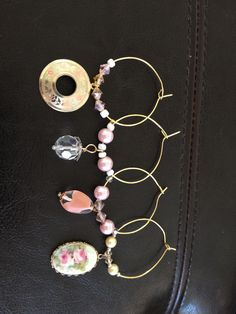 Wine/water glass charms - made from repurposed earrings, pendants, crystals and pearls.