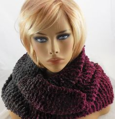 NEW handmade knit COWL INFINITY SCARF, Rainbow Boucle, Slate Pinks, 68 x 9 Med   #Handmade #CowlInfinity