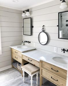Farmhouse style Shiplap Bathroom Wall via 28 Bathroom Wall Decor Ideas to Increase Bathroom's Value Shiplap Bathroom Wall, Bathroom Wall Decor, Bathroom Renos, Bathroom Styling, Bathroom Vanities, Bathroom Ideas, Bathroom Inspiration, Budget Bathroom, Bathroom Organization