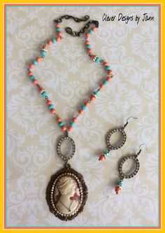 July / August Monthly Challenge  Choxie Cameo Necklace with matching earrings .. Clever Designs by Jann .. https://www.etsy.com/shop/CleverDesignsbyJann