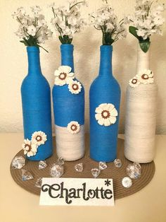 In search of grape container crafts?, this round out is your one-stop-shop from DIY eye-glasses to really super stylish cheddar dairy product trays. Glass Bottle Crafts, Wine Bottle Art, Diy Bottle, Vodka Bottle, Bottle Centerpieces, Vases, Bottles And Jars, Glass Bottles, Altered Bottles