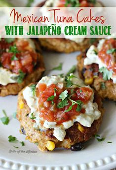 Mexican Tuna Cakes with Jalapeño Cream Sauce - Mexican Tuna Cakes – full of flavor, gluten-free, and topped with a lighter jalapeño cream sauce. Such an awesome way to spice up canned tuna! Fish Recipes, Seafood Recipes, Mexican Food Recipes, Dinner Recipes, Cooking Recipes, Healthy Recipes, Ethnic Recipes, Canned Tuna Recipes, Corn Recipes