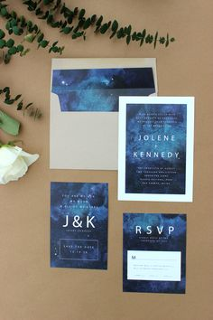 """You are my sun, my moon & all of my stars"" Custom Stargazing Wedding Invites by ZZHouse Design."