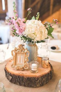 A Rustic Barn Wedding at Rivercrest Farm Wedding reception center piece on a wood slab with gold frame for table number and white hydrangeas, vintage wedding table decor Our Wedding, Dream Wedding, Trendy Wedding, Wedding Rustic, Wedding Themes, Elegant Wedding, Wedding Receptions, Shabby Chic Wedding Decor, Wedding Country