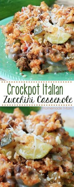 Crockpot Italian Zucchini Casserole - a delicious way to use up that zucchini from the garden and get your family eating their veggies! Add this to your zucchini casserole recipes repertoire!