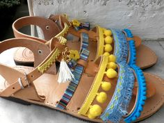 Pom pom decorated sandalsGladiator sandals Boho by dadahandmade