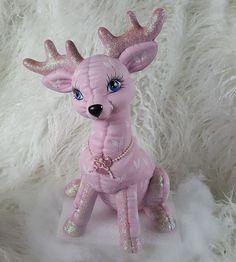 Pink Christmas Reindeer Ceramic Figurine Shabby Cottage Chic HP Handpainted NR