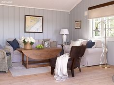 Discover recipes, home ideas, style inspiration and other ideas to try. Cozy Cottage, Cozy House, Cottage Style, Beach Living Room, Cottage Living Rooms, Timber Panelling, Mid Century Modern Living Room, Secret Rooms, Gray Interior