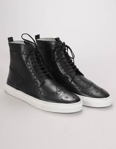 Grenson's classic brogues get a hi-top update in these black sneakers. The black lace up sneakers have large brogue detailing and white rubber soles. Black Brogues, Black High Tops, High Top Sneakers, Footwear, Lace Up, Classic, Casual, Men, Autumn