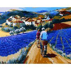 Картина раскраска по номерам на холсте - 40*50см Mariposa Q874 Прогулка по лавандовым полям худ Кристиан Жекель