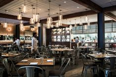 Modern restaurant pendant lights add to the charm of popular Dallas eatery, CBD Provisions. Southern Restaurant, Restaurant Bar, Restaurant Lighting, Restaurant Interiors, Restaurant Design, Modern Pendant Light, Pendant Lighting, Pendant Lamp, Woodbury Kitchen