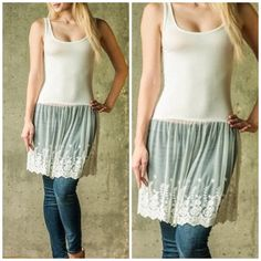 Best selling Lace tunic extender Restocked classic lace extender tunic perfect for layering . Sizes S M L colors are Ivory and light grey . NWOT . Please kindly comment for a personalized listing in your size . Vivacouture Tops