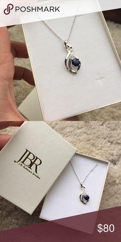 JBR Sapphire gemstone diamond necklace Real diamonds, perfect condition, never taken out of the box from JBR jewelers JBR Jewelers Jewelry Necklaces