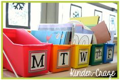 I like this idea for daily lesson plan. Fill the bins on Saturday or Sunday and daily lessons are ready to go! A must do...