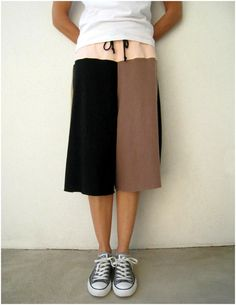 T Shirt Tee Gaucho Yoga Pants for Her Mom / Brown Black by ohzie