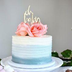 Blue Birthday Cakes, Birthday Cakes For Teens, Birthday Cake For Women Simple, Women Birthday, 30th Birthday, Birthday Ideas, Oh Baby Cake Topper, Cake Toppers, Bithday Cake