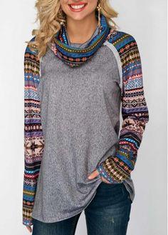 Long Sleeve Cowl Neck Printed Sweatshirt on sale only US$32.13 now, buy cheap Long Sleeve Cowl Neck Printed Sweatshirt at Rosewe.com