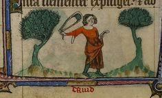 David with slingshot. England 14th cent. Taymouth Hours. YT 13. BL