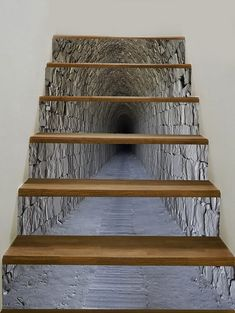 Tunnel Cave Pattern Floor Decor Stair Decals -