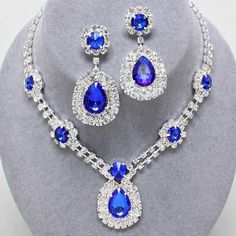 Chunky Blue Crystal Silver Chain Earring Necklace Set Fashion Costume Jewelry #Unbranded