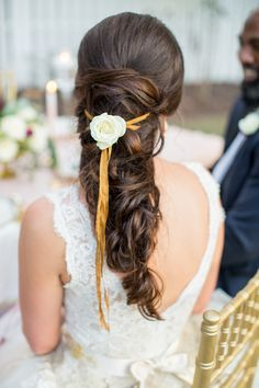 Bridal Hair- The perfect South Carolina Wedding, put together by all the best Vendors in the Columbia SC area. Wedding Inspiration at its finest. Romantic Wedding Hair, Long Hair Wedding Styles, Long Hair Styles, Wedding Dress, Southern Belle Style, Purple And Gold Wedding, Couture Wedding Gowns, Ribbon Hair, Garden Wedding
