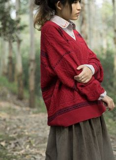 Retro V-neck thick jacquard knitting sweater - Red from TDJasmine by DaWanda.com