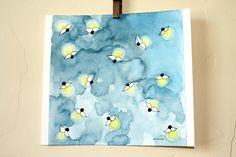 "Original watercolor painting 7"" X 7"" of Fireflies via Etsy."