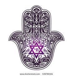 Hamsa Stock Vectors, Images & Vector Art - Elegant hand drawn Isolated traditional Jewish sacred amulet and religious symbols – Hamsa or hand - Jewish Tattoo, Hebrew Tattoo, Hamsa Tattoo, Star Tattoos, Body Art Tattoos, Yoga Tattoos, Tattoo Art, Tatoos, Star Of David Tattoo