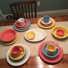 Baby shower fiesta ware: flamingo, periwinkle, sunflower, and white