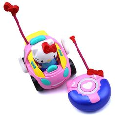 Toy RC Hello Kitty Remote Control Car Pink kt Doraemon Electric With Music Light Cute brinquedos Children