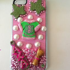 ALPHA KAPPA ALPHA phone case--LOVE IT! But as much as  I drop my phone, I don't see these accessories hanging on. LOL!
